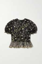 Simone Rocha - Bubble ruffled embroidered tulle top at Net A Porter