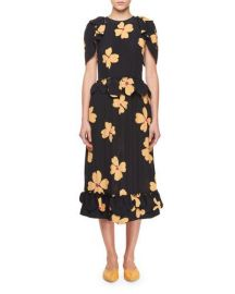 Simone Rocha Floral-Print Crepe de Chine Midi Dress   Neiman Marcus at Neiman Marcus
