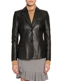 Single-Breasted Leather Blazer at Bergdorf Goodman