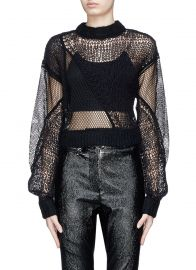 Siouxie Fishnet Knit Patchwork Cropped Sweater by Helmut Lang at Lane Crawford
