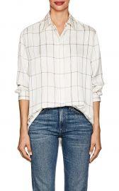 Sisea Windowpane-Checked Silk Satin Blouse at Barneys