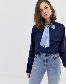 Sister Jane blouse with pussybow and heart jewel detail   ASOS at Asos