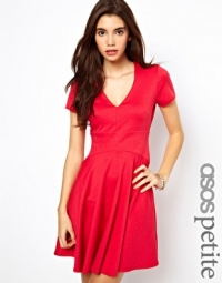 Skater dress with v neck at Asos