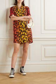 Skater leopard-print poplin mini shirt dress at Net A Porter