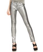 Skinny Metallic Coated Denim Jeans by Bar III at Macys