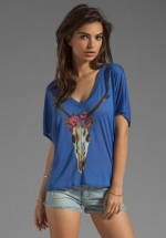 Skull and flowers tee by Chaser at Revolve