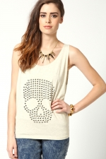 Skull studded vest at Boohoo at Boohoo