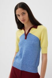 Sky-Blue Annilise Knitted Cotton Shirt by Chinti and Parker at Chinti and Parker