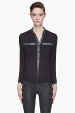 Slate Blue Leather Trim blouse by Helmut Lang at SSense