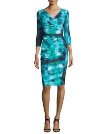 Sleeve Ruched Floral Cocktail Dress by La Petite Robe di Chiara Boni at Neiman Marcus
