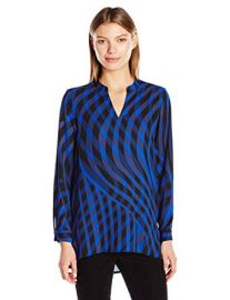 Sleeve Swept Check Blouse by Vince Camuto at Amazon