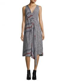 Sleeveless Printed Wrap Dress at Neiman Marcus
