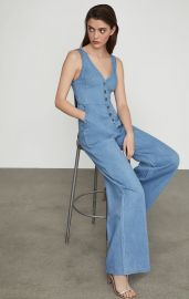 Sleeveless Button Front Jumpsuit at Bcbgmaxazria
