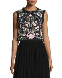 Sleeveless Embroidered Crop Top at Neiman Marcus