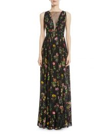 Sleeveless Floral-Print Long Evening Gown at Bergdorf Goodman