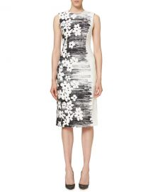 Sleeveless Floral Sheath Dress at Neiman Marcus
