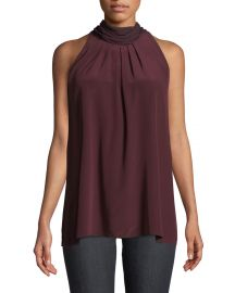 Sleeveless High-Neck Silk Blouse at Bergdorf Goodman