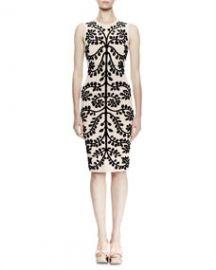 Sleeveless Leaf-Print Pencil Dress  Cameo Black at Neiman Marcus