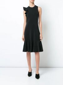 Sleeveless One Shoulder Ruffle Dress at Farfetch