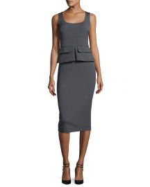 Sleeveless Peplum Sheath Midi Dress at Bergdorf Goodman