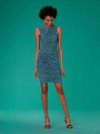 Sleeveless Ruched Mesh Dress by Diane von Furstenberg at DvF