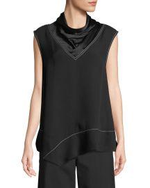 Sleeveless Satin Mock-Neck Handkerchief Blouse by Derek Lam at Bergdorf Goodman