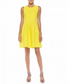 Sleeveless Seamed A-Line Dress by Lela Rose at Last Call