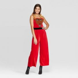Sleeveless Square Neck Reindeer Ugly Holiday Jumpsuit at Target
