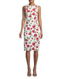 Sleeveless Stemmed-Rose Print Stretch-Cady Sheath Dress by Michael Kors at Bergdorfgoodman