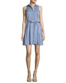 Sleeveless Striped Tie-Waist Shirtdress by Milly at Neiman Marcus