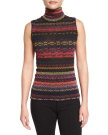 Sleeveless Striped Turtleneck Sweater by Fuzzi at Neiman Marcus