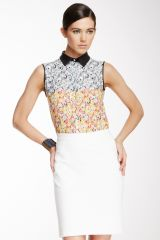Sleeveless leather collar floral top at Nordstrom Rack