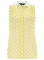 Sleeveless lemon polka dot shirt at Dorothy Perkins