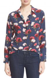 Slim Signature Floral Blouse in Peacoat by Equipment  at Nordstrom