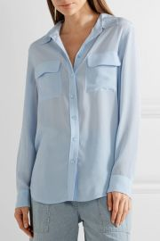 Slim Signature washed-silk shirt at Net A Porter