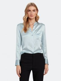 Slim Fit Band Collar Silk Blouse at Verishop