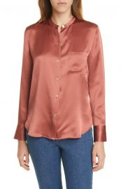 Slim Fit Band Collar Silk Blouse at Nrodstrom