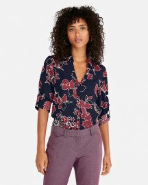 Slim Fit Covered Button Floral Portofino Shirt at Express