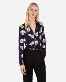 Slim Floral Satin Portofino Shirt at Express