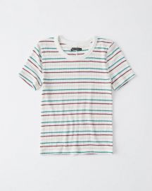 Slim Ribbed Tee in White Stripe at Abercrombie
