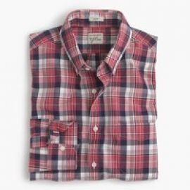 Slim Secret Wash shirt in classic red plaid at J. Crew