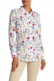 Slim Signature Button Up Silk Top at Nordstrom Rack