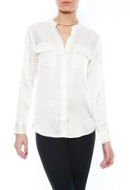 Slim Signature Collarless Blouse by Equipment at Singer 22