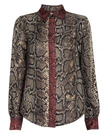 Slim Snake-Printed Silk Shirt by Victoria Beckham at Intermix