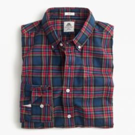 Slim Thomas Mason For J Crew Flannel Shirt In Dark Royal Plaid at J. Crew