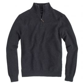 Slim cotton-cashmere half-zip sweater in grey at J. Crew