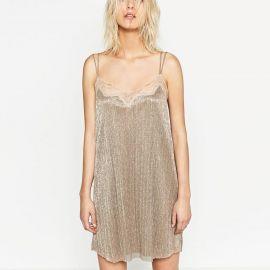 Slip Dress with Lace Trim at Zara