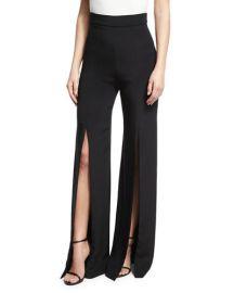Slit-Front Crepe High-Waist Pants at Bergdorf Goodman