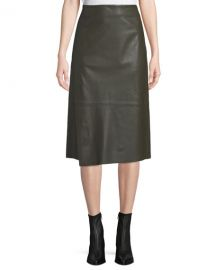 Slit Leather Midi Skirt at Last Call
