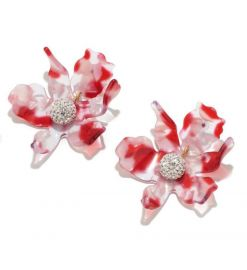 Small Paper Lily Earrings in cherry by Lele Sadoughi at Lele Sadoughi